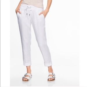 Athleta White Linen Crop Ankle Pants 12